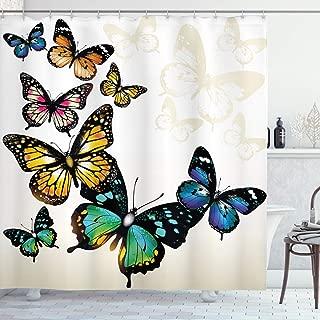 Ambesonne Butterfly Shower Curtain, Vivid Monarch Butterflies Flying Shades Shadows Dreamlike Fantasy Display, Cloth Fabric Bathroom Decor Set with Hooks, 70