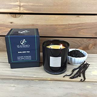 Earl Grey Tea Fragrance | LeafBird Luxury Scented Candle | Natural Soy Wax with Strong Fragrance | Luxury Gift Box Included