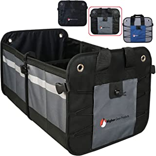 Higher Gear Car Trunk Organizer for SUV, Auto, Truck, Home - Collapsible Car Storage Organizer - 2 Interior Compartments, 3 Exterior Pockets, Rigid Folding Bottom, No Slip Feet