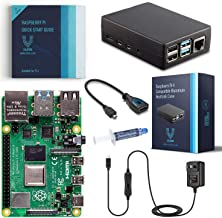 Vilros Raspberry Pi 4 Basic Starter Kit with Heavy Duty Self Cooling Aluminum Alloy Case (8GB Black Case)