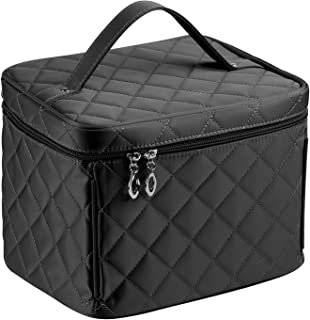 EN'DA Cosmetic bag with quality zipper Big size Nylon Make up Bag single layer travel Makeup bags (Black)