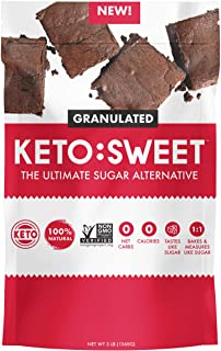 KETO:SWEET Ultimate Sugar Alternative, 100% Natural Erythritol, Unflavored, 48 Oz