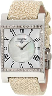 SK47742L Limited Edition Swiss Pink Diamond Watch With Mother-Of-Pearl Dial, Genuine Stingray