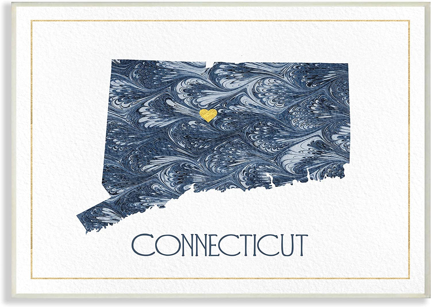 The Stupell Home Decor Connecticut Minimal bluee Marbled Paper Silhouette Wall Plaque Art, 13 X 19, Multi-color