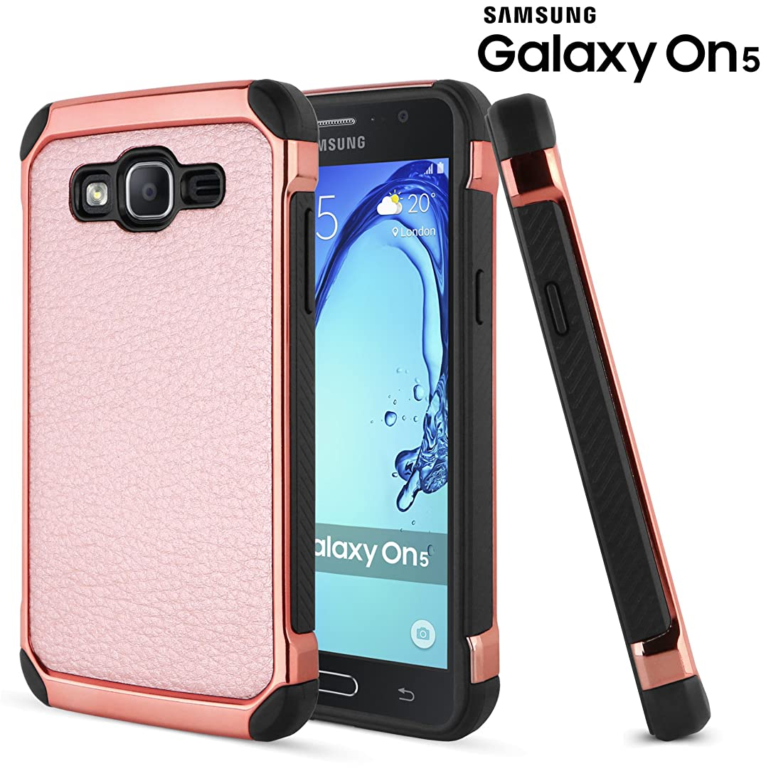 Galaxy On5 Case, Celljoy [Deluxe Shock Armor] [Rose Gold] Samsung G550 Slim Fit Dual Layer Protective [[Shockproof]] Hybrid Reinforced Bumper **Impact Resistant** Premium Elegant - Thin Hard Cover