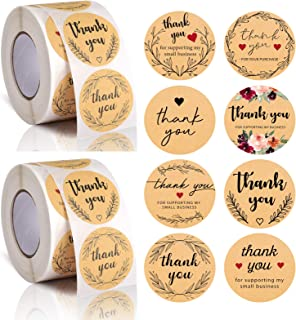 Avamie 1000PCS Kraft Thank You Stickers Rolls, 1.5 ich Thank You for Supporting My Small Business Stickers, 8 Unique Desig...