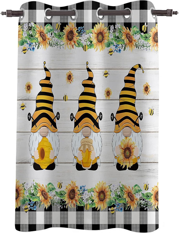 Blackout Window Curtain Drapes Farm Popular Branded goods popular Honey Gnome Sunflower B Bee