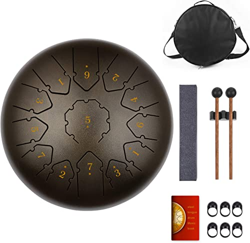 KUDOUT Tongue Drum-drum Instrument 13 tons 12 Pouces-drum instrument-handpan instrument idéal pour la méditation,le y...