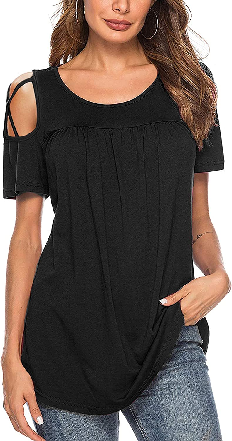 NeedBo Women's Scoop Very popular! Neck Excellence Pleated Cold Shoulder Ruffle Tu Blouse