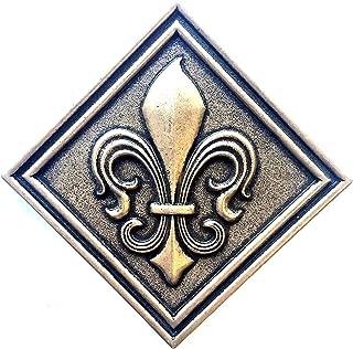 Square Feet Depot Fleur De Lis 4x4 Victorian Gold Rustic Resin Decorative Insert Accent Piece Tile