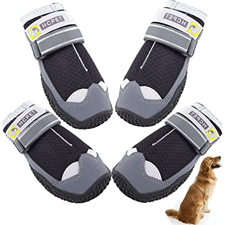 SOARINGFEEL woopetsupply Dog Shoes for Hot Pavement, Dog Booties for Summer, Dog Boots with Mesh Breathable, Reflective and Adjustable Straps for LargeMediumSmall Dogs