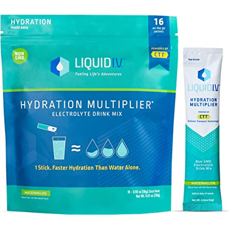Liquid I.V. Hydration Multiplier - Watermelon - Hydration Powder Packets   Electrolyte Supplement Drink Mix   Low Sugar   Easy Open Single-Serving Stick   Non-GMO (Watermelon/16 Count)