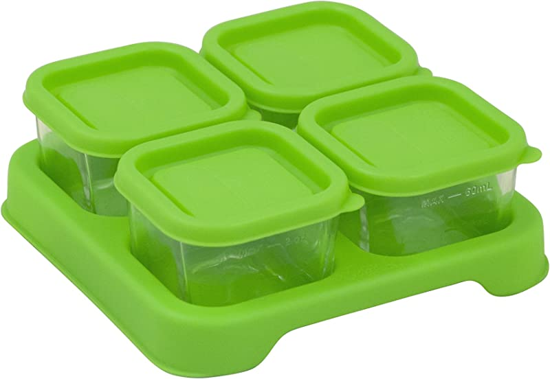Green Sprouts Fresh Baby Food Glass Cubes 4 Pack 2 Oz Store Carry Heat Serve Homemade Baby Food Tempered Glass Is Durable Shatter Resistant Lid Provides Leak Proof Seal Dishwasher Safe
