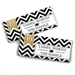 Gold Tassel Worth The Hassle - Candy Bar Wrappers 2019 Graduation Party Favors - Set of 24