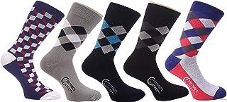 FootPrints Organic Cotton Bamboo Men's Formal Socks Pack of 5 Pairs -(Designer Argyle)