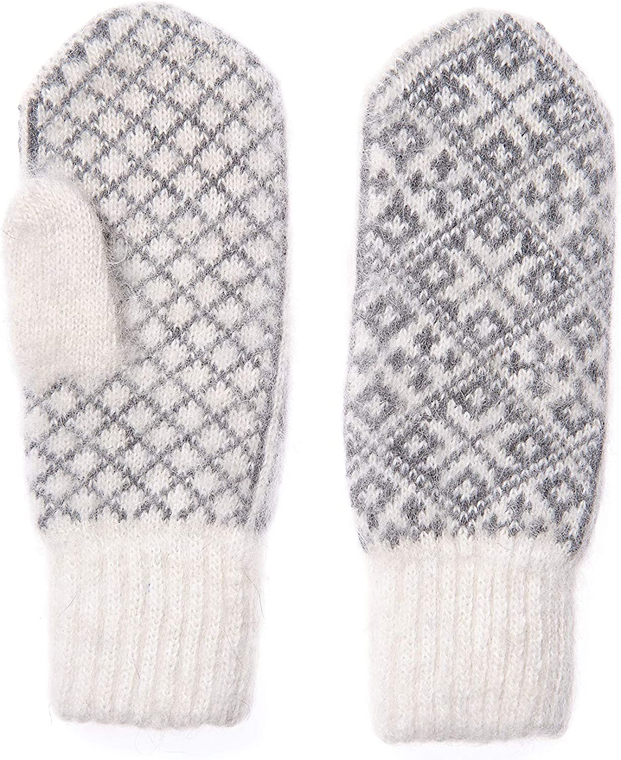 Wool Mittens with Scandinavian Ornament, Warm Winter Mittens for Cold Weather, Gloves Knitted of Natural Wool with Goat Wool, Size Men's M, Women's L