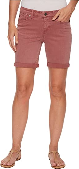 Liverpool - Corine Walking Rolled Shorts in Slub Stretch Twill in Roan Rouge