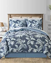 Modern Living Charcoal Blue Coastal Beach Palm Leaves Reversible King Comforter Set (8 Piece Bed in A Bag) + Homemade Wax Melts.