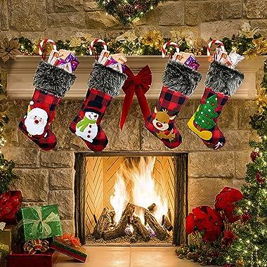 KHDZ Christmas Stockings 4 Pack, 18 Inch Plaid Classic Personalized Large Stocking Santa, Snowman, Christmas Tree, Reindeer X