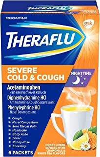 Theraflu Nighttime Severe Cold and Cough Hot Liquid Powder Honey Lemon Infused with Chamomile and White Tea Flavors 6 Coun...