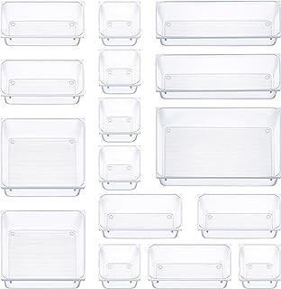 16 قطعه میز تنظیم کننده کشو میز 5 درهای توزیع کننده سینی توزیع کننده سطل ذخیره سازی چند منظوره - ظرف های پلاستیکی غرورهای سازمان دهنده ظروف کمد ، آرایش ، آشپزخانه ، لوازم اداری