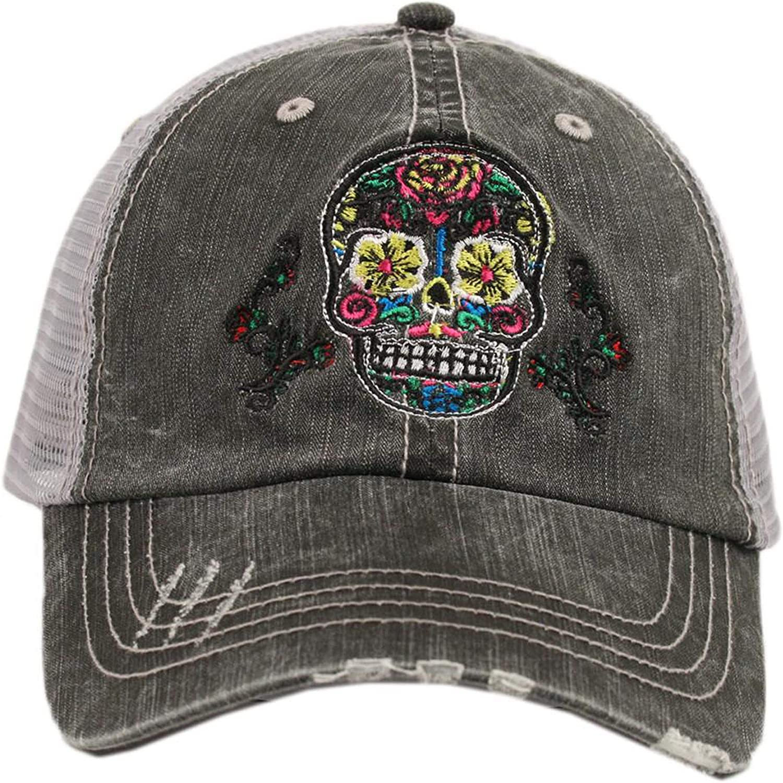 Katydid Women's Sugar Skull Distressed Grey Trucker Hat