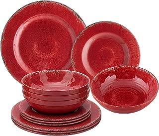 Gourmet Art 12-Piece Crackle Melamine Dinnerware Set, Red