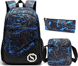 School Backpacks for Boys,Teens Girls Unisex School Bookbag Set 3 Pieces Travel Daypack (Blue 1)