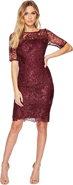 Adrianna Papell - Short Sequin Embroidered Cocktail Dress with 3/4 Sleeve