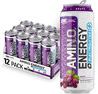 Optimum Nutrition Amino Energy + Electrolytes Sparkling Hydration Drink - Pre Workout, BCAA, Keto Friendly, Energy Powder - Grape, 12 Count