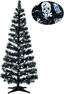 Halloween Indoor Decorations-5FT Pop Up Tinsel Branches Trees with Plump Skull Sequin,Collapsible Artificial Halloween Xmas Black Tree with Plastic Stand for Haunted House,Office Store Party Decor
