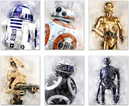 Star Wars Droids Prints - Set of 6 (8 inches x 10 inches) Watercolor Wall Decor Photos - R2D2 C3PO BB8 K-2SO BB-9E Battle Droids