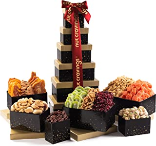 Holiday Dried Fruit & Nut Gift Basket, Red Ribbon Tower (12 Mix) - Thanksgiving, Christmas, Xmas Food Arrangement Platter,...