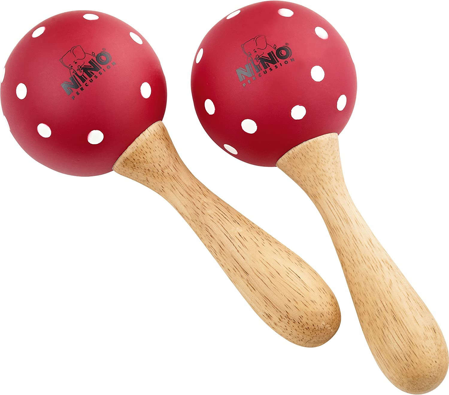 Nino Percussion NINO8PD-R Max 74% OFF Medium Wood Cheap mail order specialty store Maracas P Red with White -