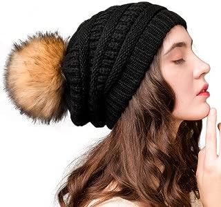 Womens Winter Knit Slouchy Beanie Hat Warm Skull Ski Cap Faux Fur Pom Pom Hats for Women