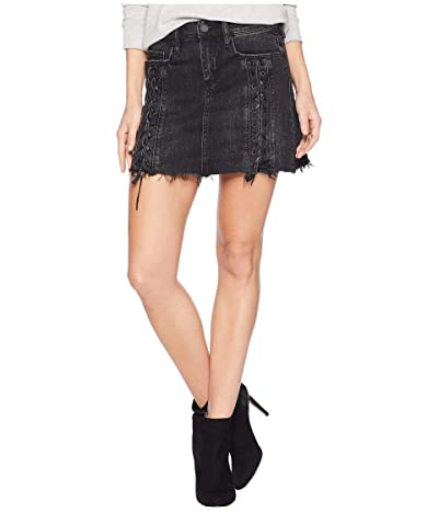 Blank NYC Charcoal Grey/Black Lacing Detail Mini Skirt in Mystique (Mystique) Women