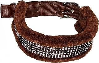 Skora Stylish Nylon Fur Dog Collar - Neck Size (20-24.50 inch),1.25 Inch (Brown) - Pack of 1