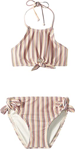 Sunday Stripe Hi-Neck Swim Set (Toddler/Little Kids)