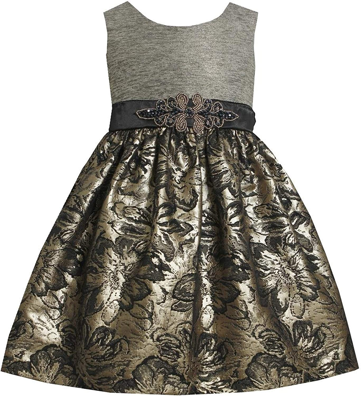 Bonnie Jean Little Girls' Foil To Brocade Waistline Dress