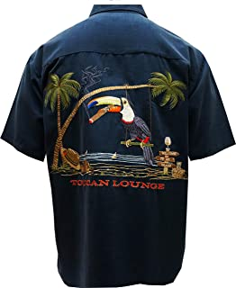 Mens Back Embroidered Tropical Button Down Camp Shirts