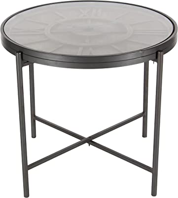 "Deco 79 89254 Wood and Iron Clock Accent Table, 21"" x 25"", Black/Brown"