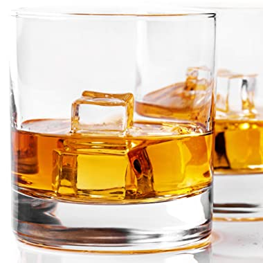 Whiskey Glass Set of 2 -10 oz Bourbon Glasses for Old Fashioned Cocktails, Scotch Glasses, Perfect Rocks Glass & Best Gift Set by Taylor'd Milestones Glassware