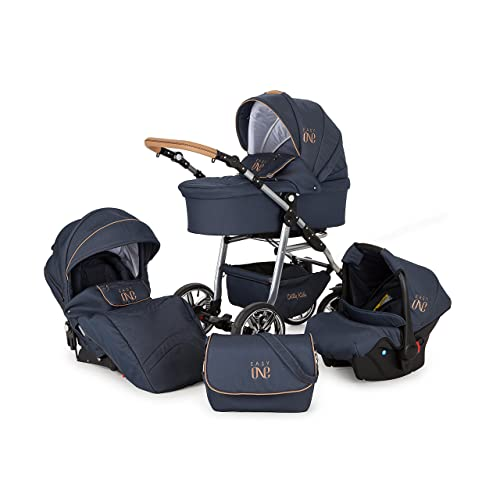 Lux4Kids Kinderwagen Set Babywanne Sportsitz Babyschale Wickeltasche Matratze 3in1 VIP Luxus Made in EU Easy One Blau & Jeans