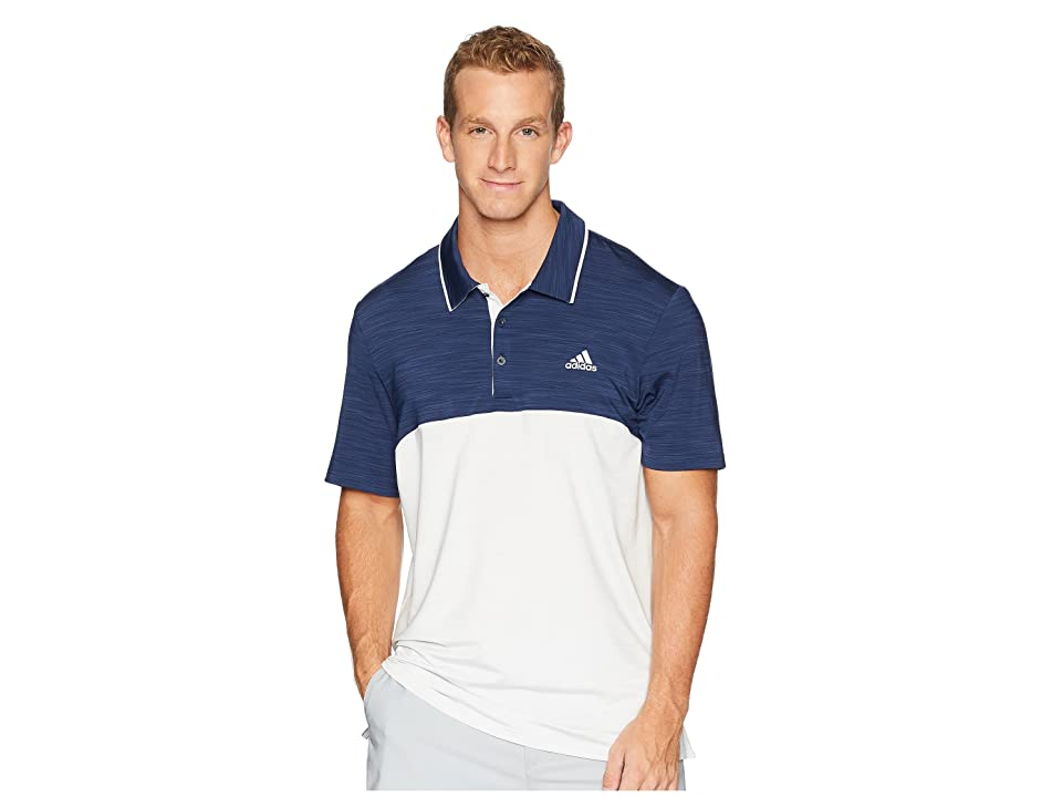 adidas Golf Ultimate Heather Blocked Polo (Collegiate Navy Heather/Grey One Heather) Men