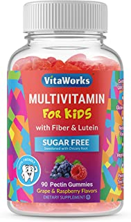 VitaWorks Sugar Free Multivitamin for Kids – with Fiber and Lutein – Great Tasting Grape and Raspberry Flavored Gummy – Gl...
