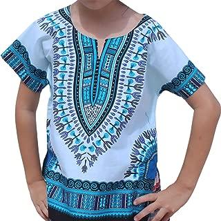 Raan Pah Muang RaanPahMuang Unisex Bright African White Children Dashiki Cotton Shirt