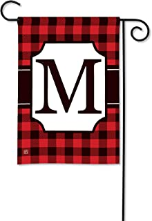 BreezeArt Studio M Buffalo Check Monogram M Garden Flag - Premium Quality, 12.5 x 18 Inches