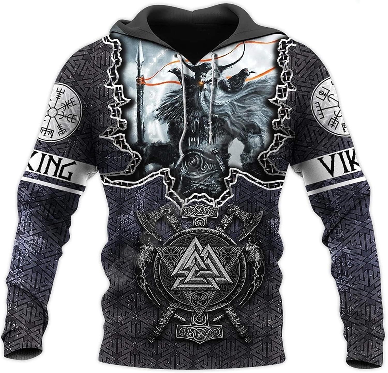 Viking Hoodies,Fashion Mens 3D Printed Tattoo Odin Sweatshirt Hoodie Harajuku Autumn Streetwear Unisex Casual Tracksuit