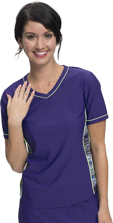 HydroChic Women's Modest V-Neck Rash Guard, Short Sleeve Swim Shirt