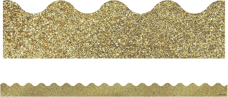 New York Mall Carson Dellosa Decorative Sparkle and Our shop most popular Gold Scallop Shine Glitter